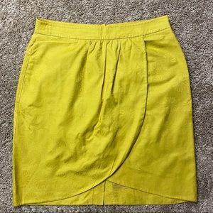 Anthropologie Gold Jacquard Tulip Skirt S